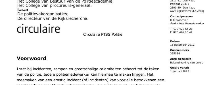 Circulaire PTSS Politie